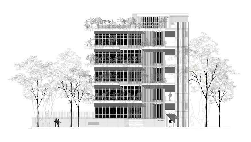 El edificio de cinco pisos esta compuesto por hierro, concreto, ladrillo y madera.