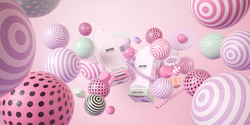 La campaña publicitaria de Herrada para el lanzamiento de la leche Hatsu tuvo el reconocimiento de Best of  Behance  en la categoría de ilustración.