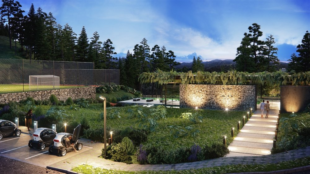 Una representación en 3D del proyecto residencial muestra lámparas de energía solar, una cancha de fútbol, una piscina descubierta y vegetación abundante.