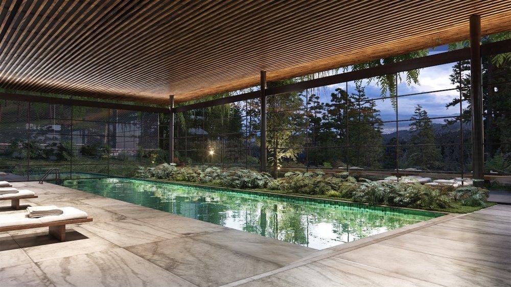 Una representación en 3D de la piscina.