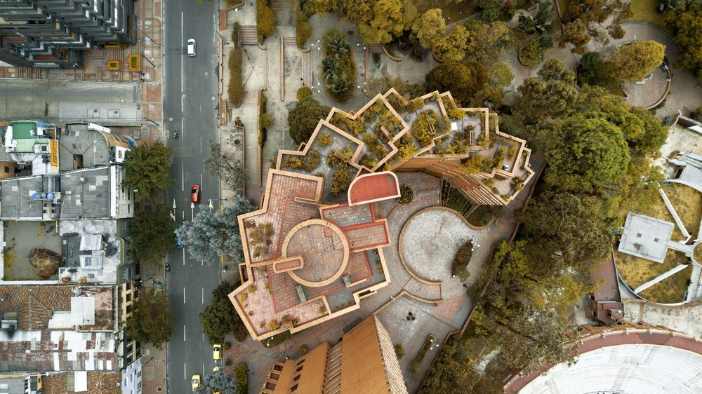 An aerial view of  Torres del Parque  (or Towers of the Park) by Rogelio Salmona, located in the city's Macarena district. Photo by Camilo Monzón Navas.