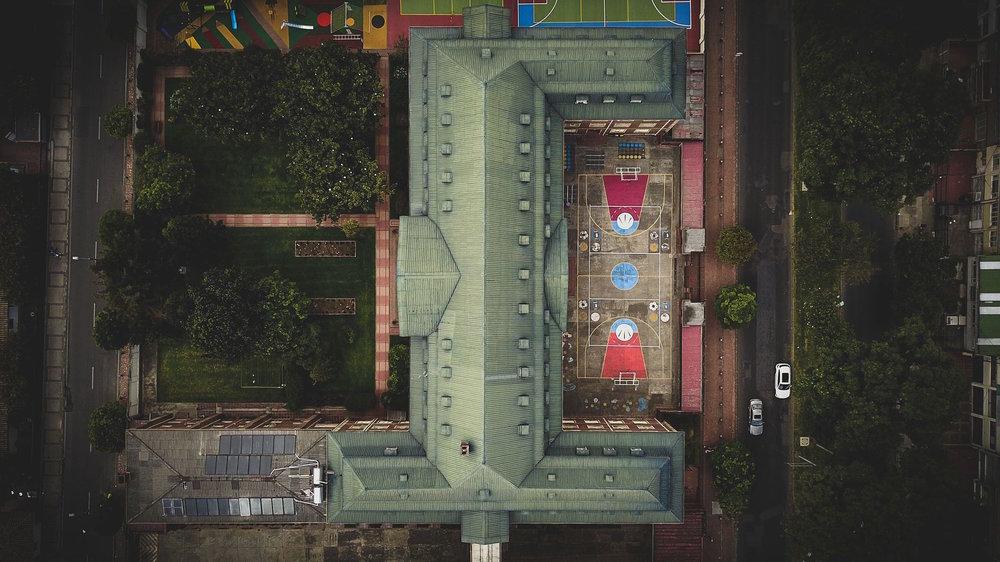 Una vista aérea del Colegio Champagnat en Bogotá. Foto de Camilo Monzón Navas.