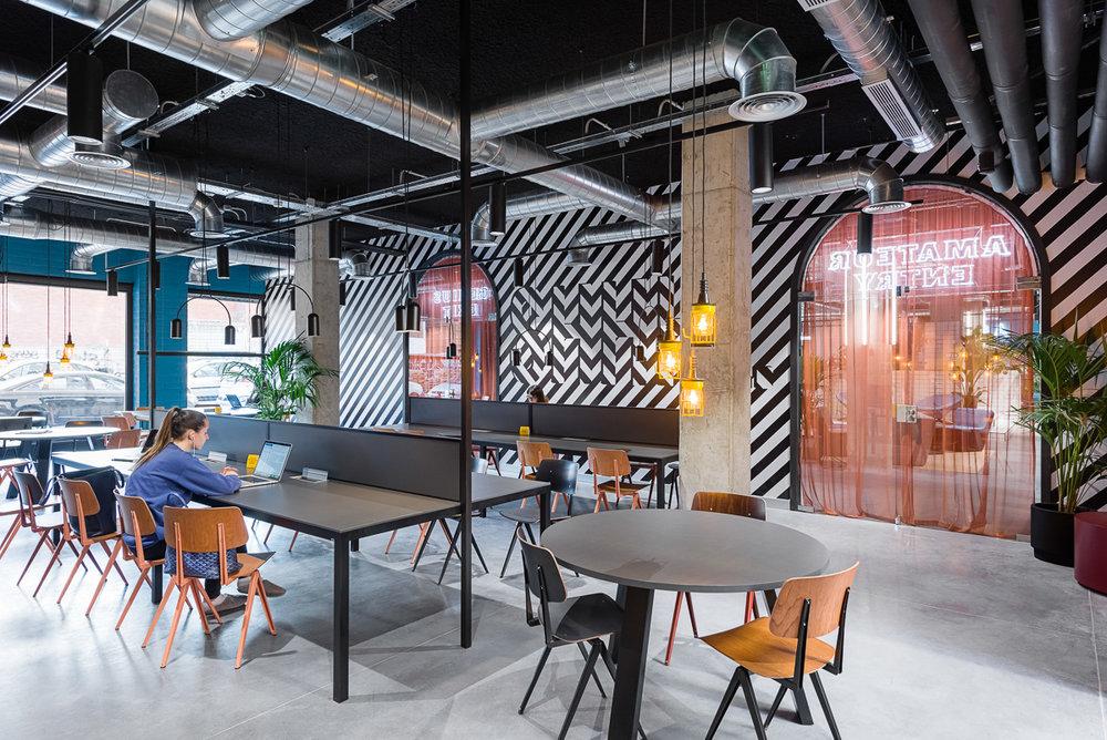 Una zona co-working en el campus Marina de Barcelona.