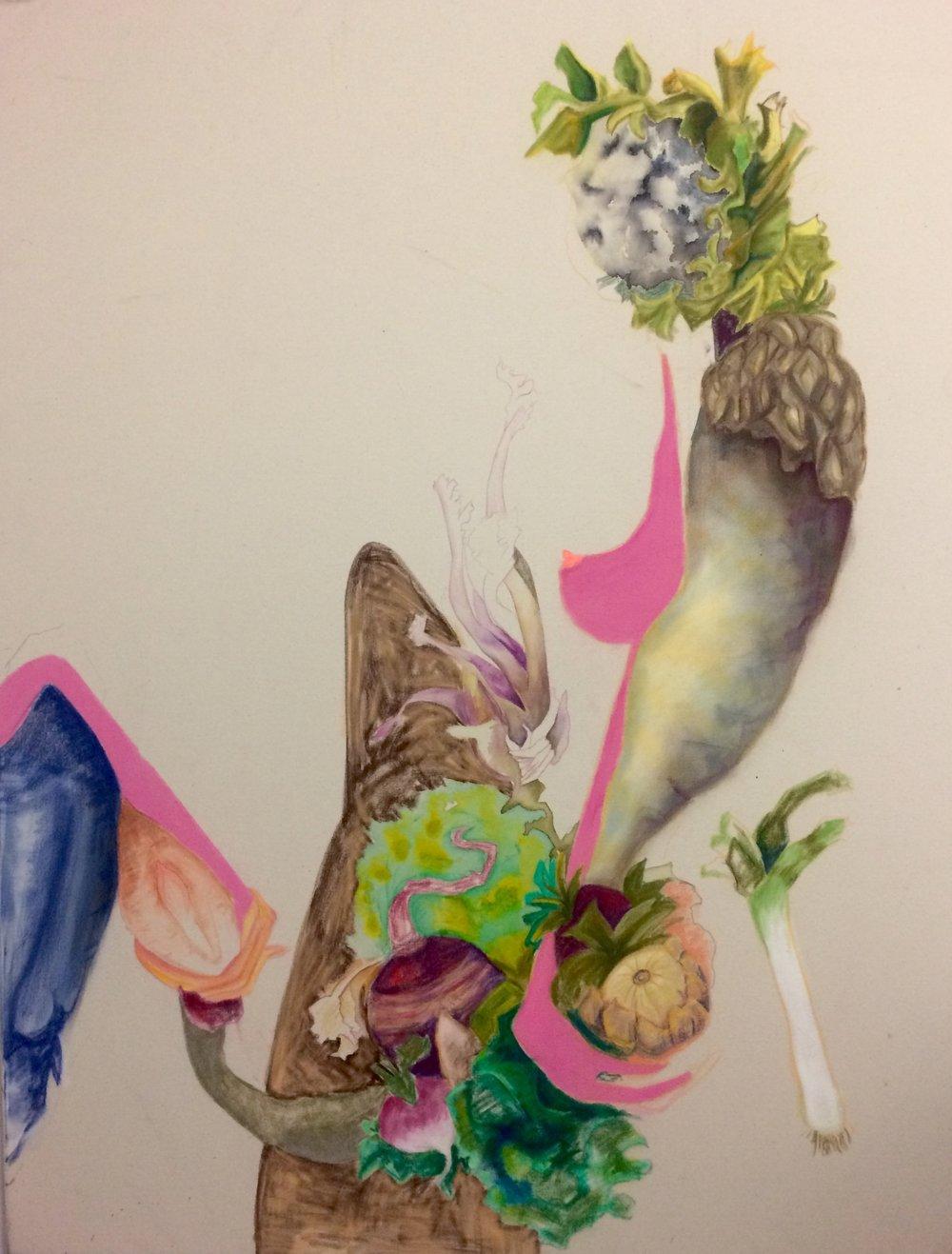 pastel, tinta, lápiz sobre tela  140 x 90 cm