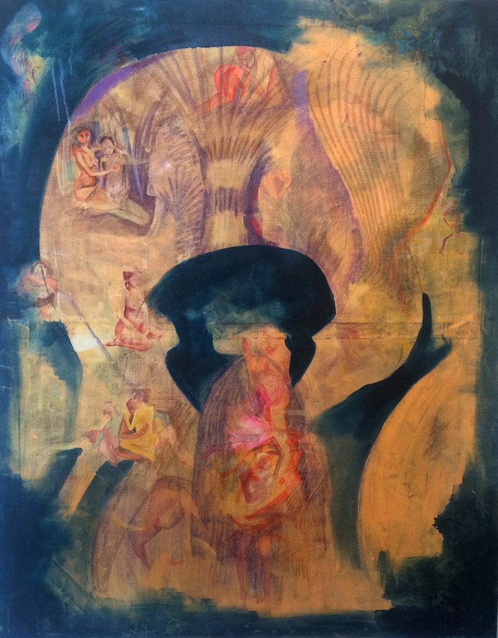 óleo, lápiz, tinta sobre tela 140 x 110 cm