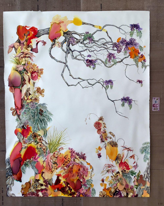 atlixco . acuarela sobre papel. 140 x 170 cm.