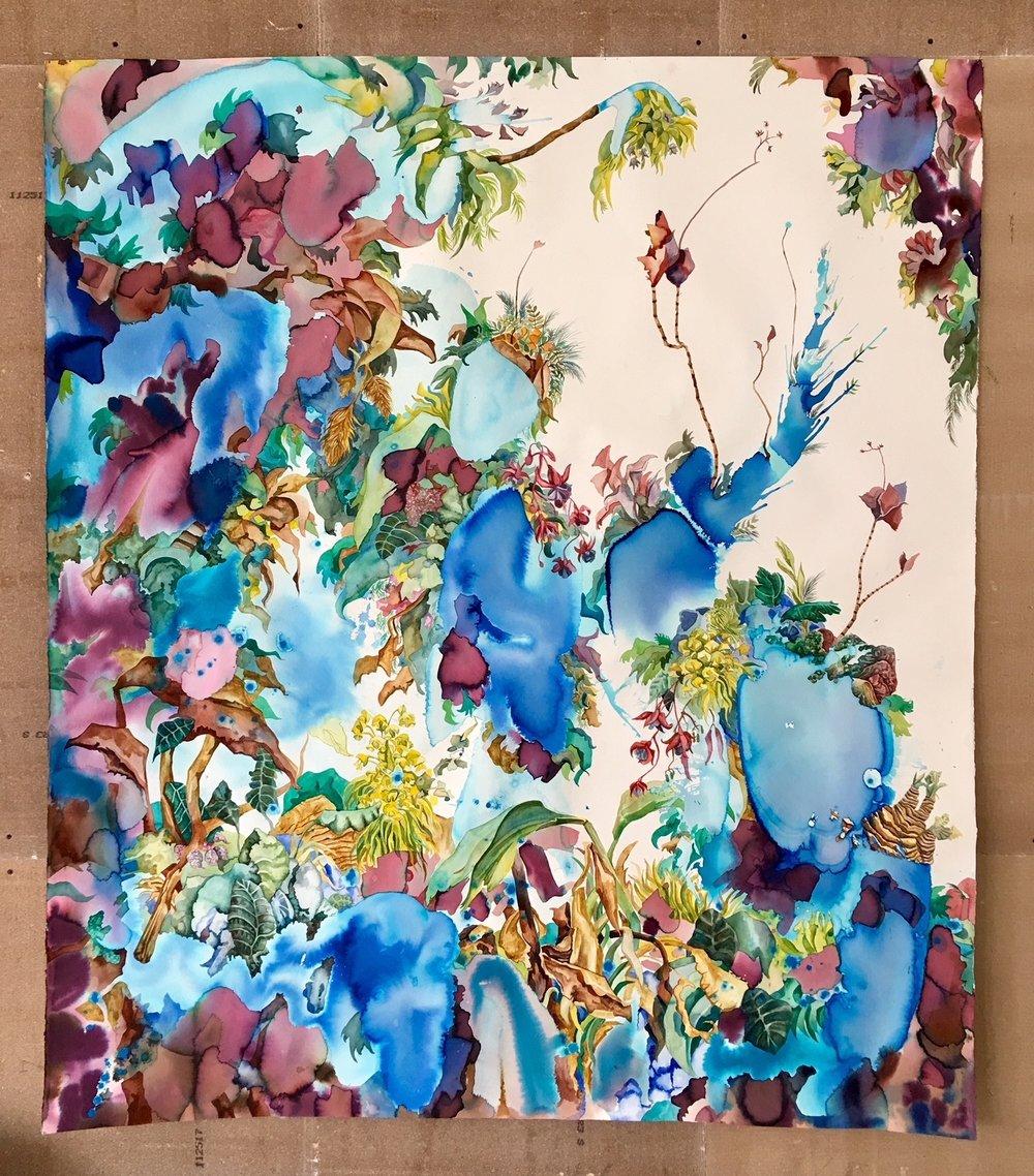 visto desde arriba . acuarela sobre papel.     140 x 176 cm.