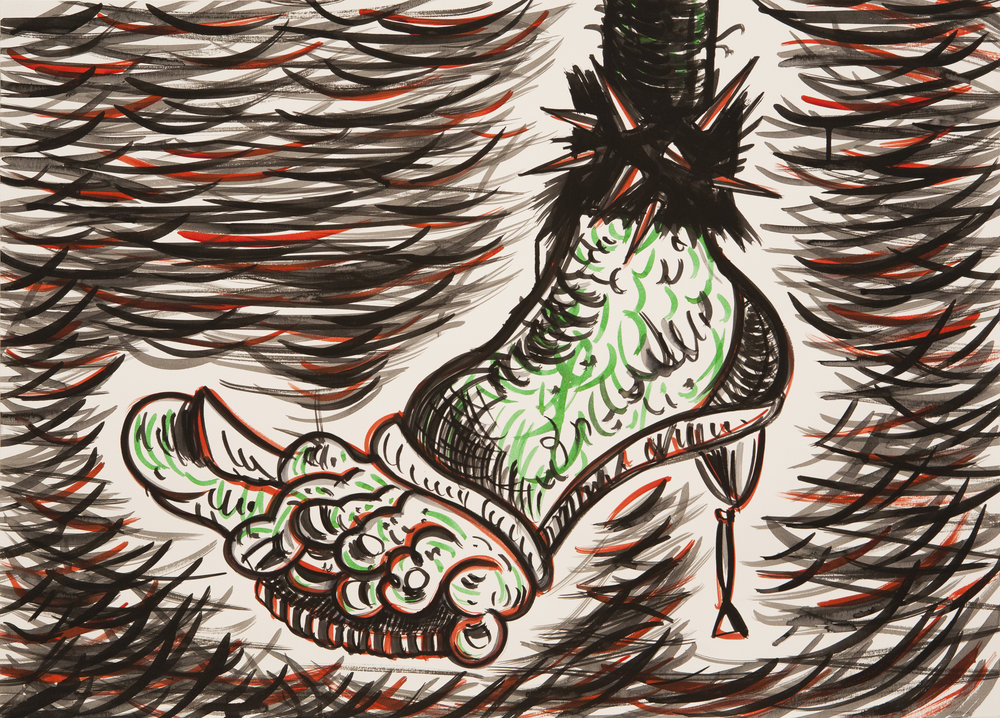 Sick Feet Barbarella, 2016 Ink on Paper. 50x70cm