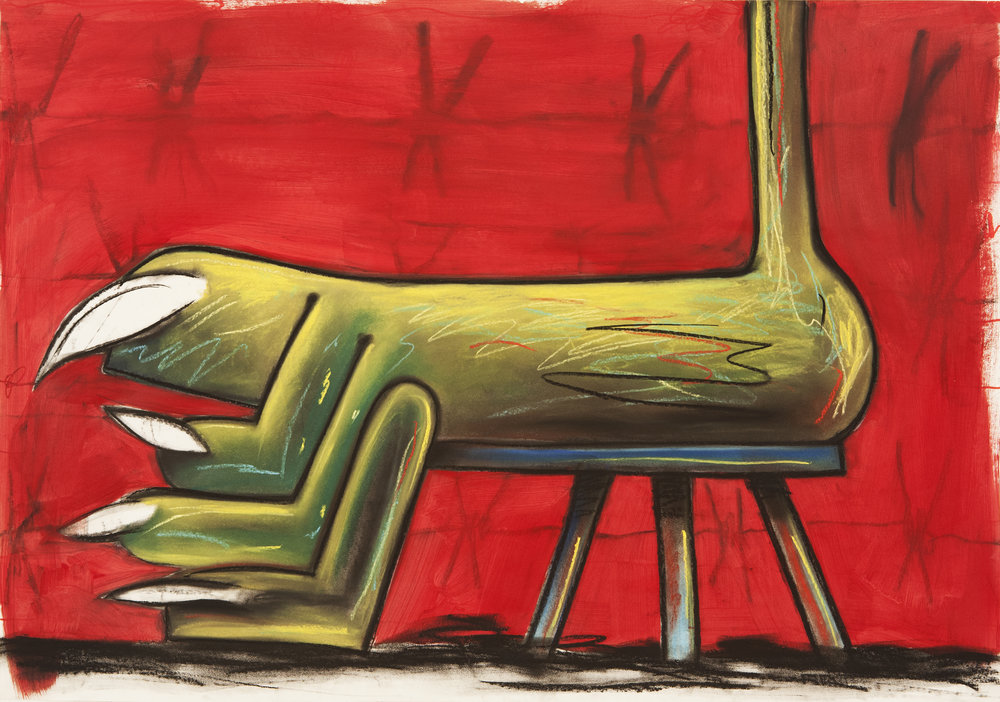 Sick Feet Taburete, 2015 Pastel, Charcoal and Acrylic on Paper. 59,5x84cm
