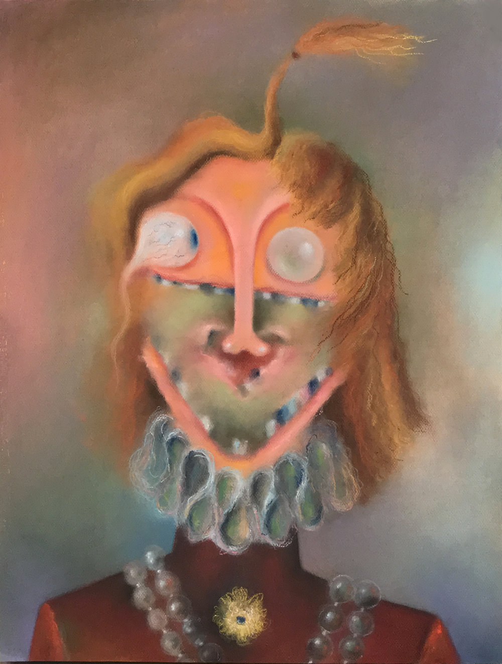 Smiling Through Your Teeth 2018 Pastel on paper. 60x50cm (without frame)