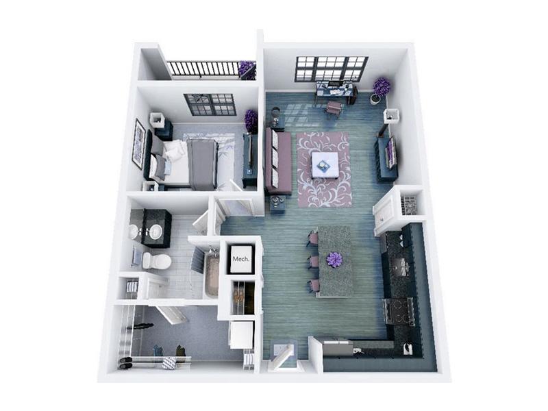 Ilustração 3D do escritório-tipo