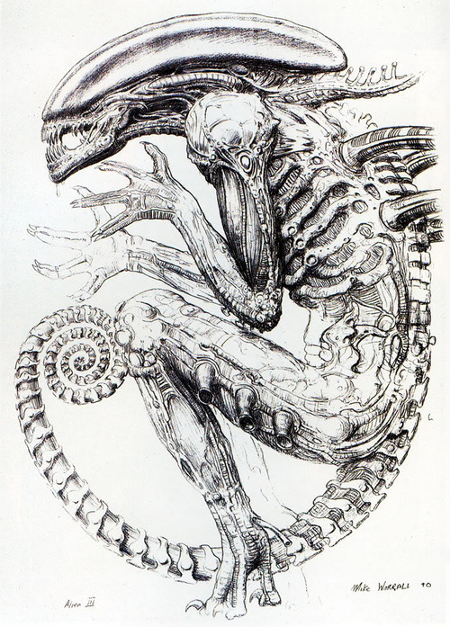 One of my personal favorite xeno illustrations is this piece of concept art by Mike Worrall, created for the Ward film. Note the logarithmic spiral of the tail section.