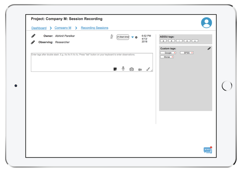 Recording New Session Page - Interactive Wireframe in Axure RP.