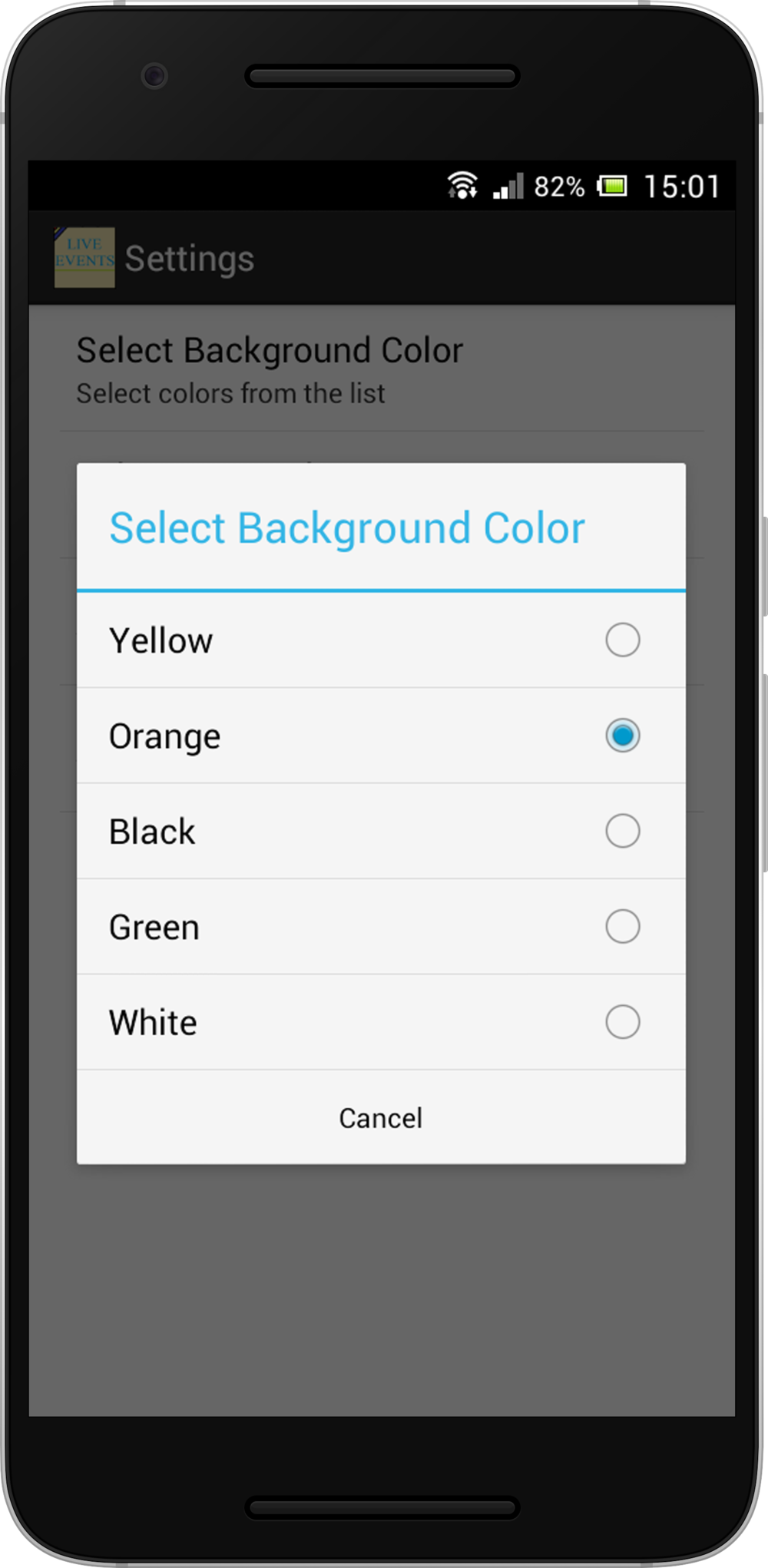 Preference - To select Background Color