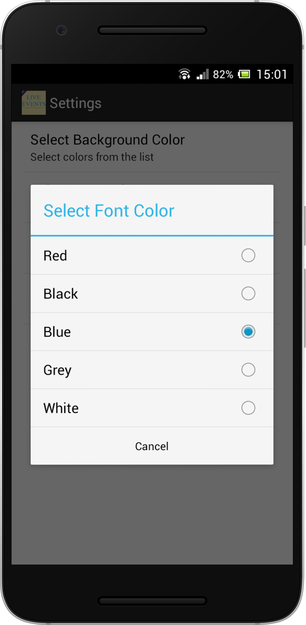 Preference - To select Font Color