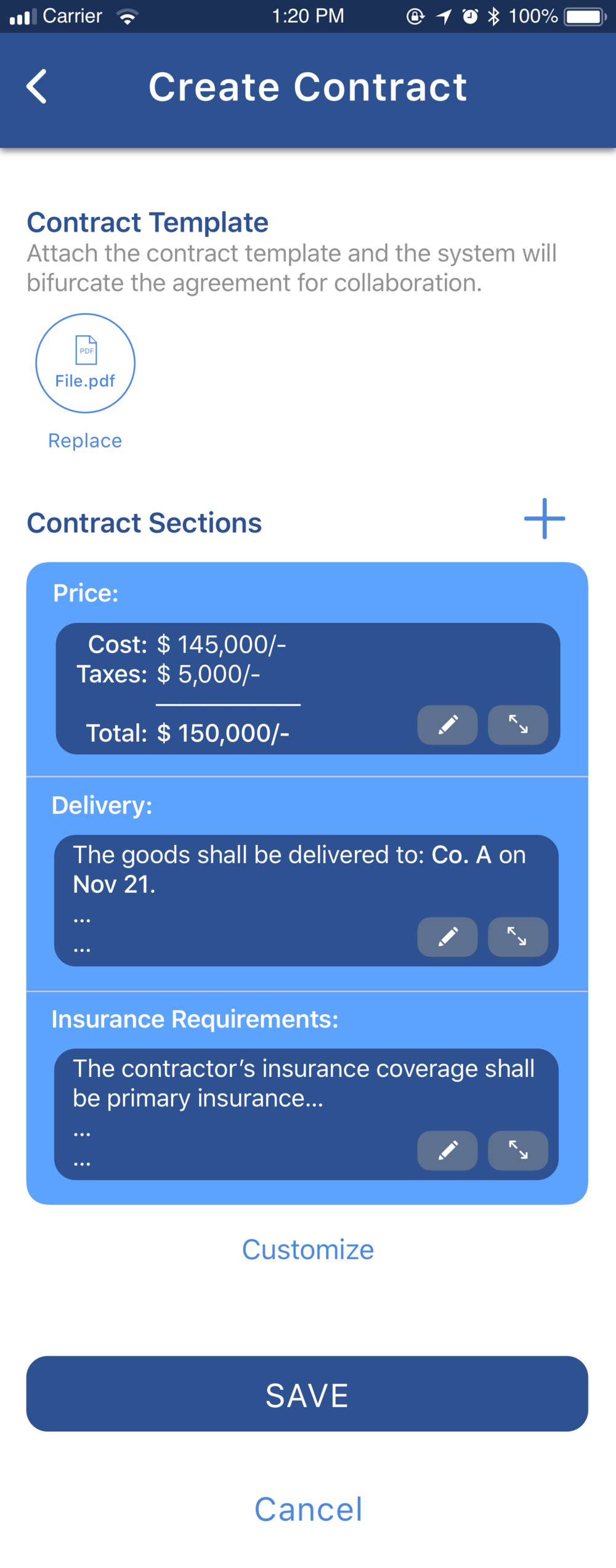 Create contract 1.2