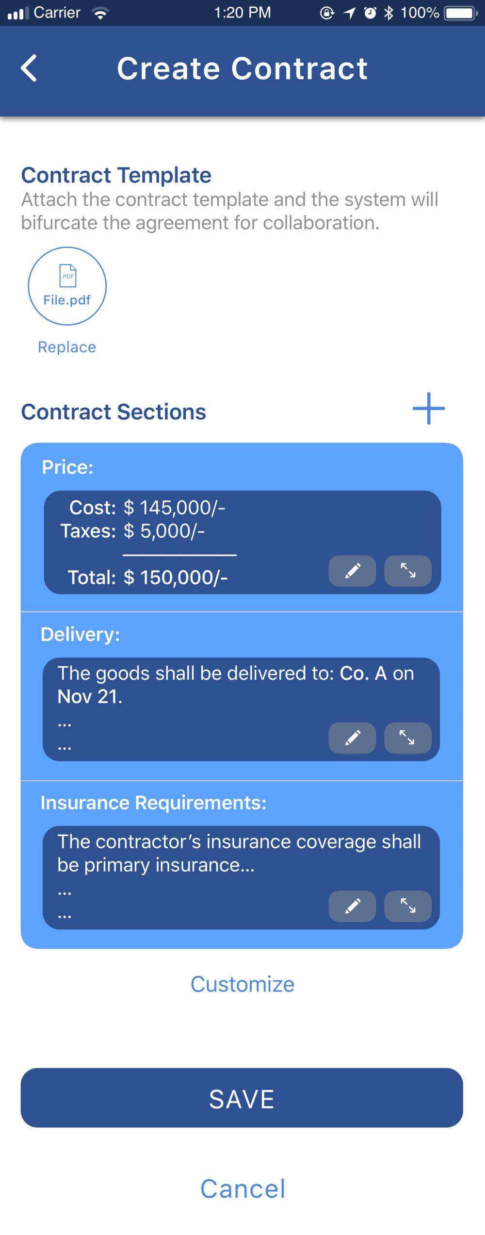 Create contract 1.2