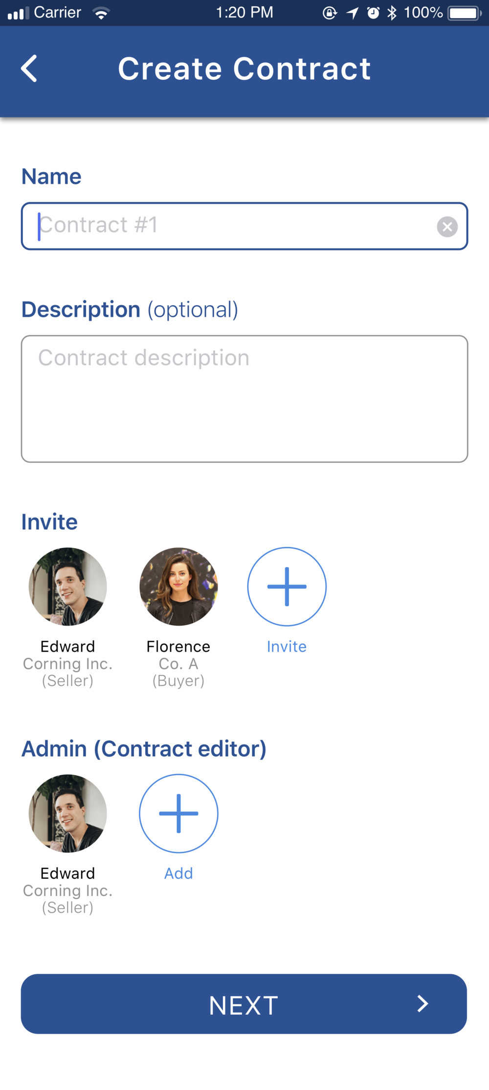Create contract 1.1