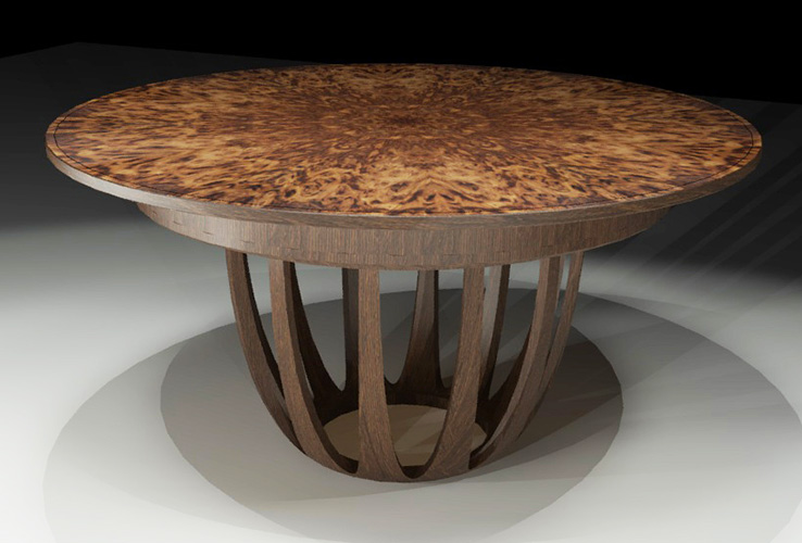 Computer Rendering of Brown Oak burr Dining Table