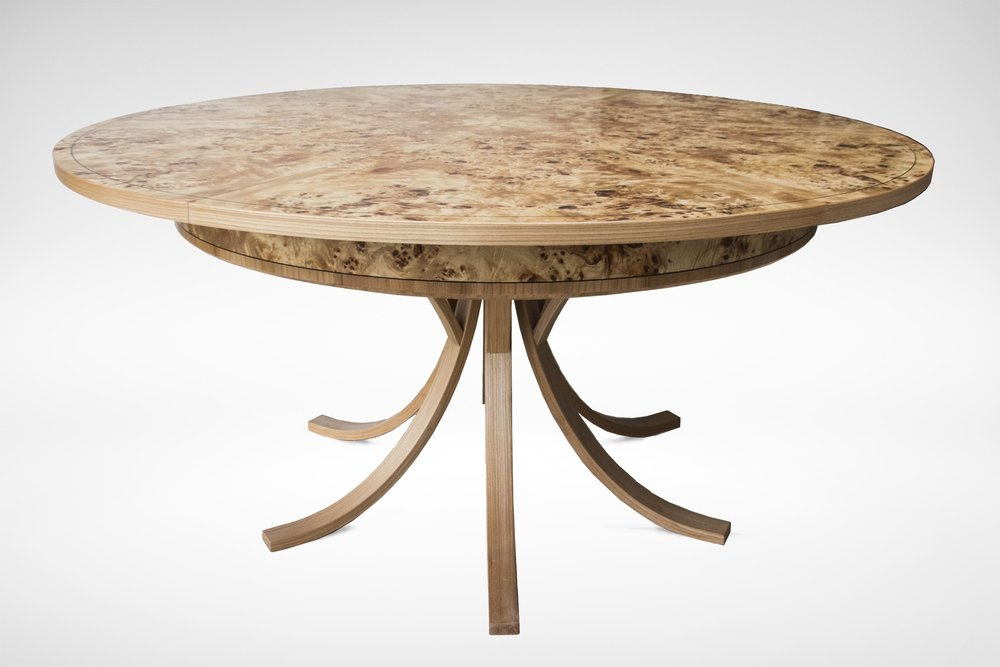 Johnson Furniture   Burr Poplar And Elm Dining Table