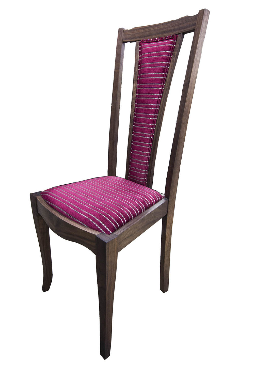 Upholstered dining chair in walnut