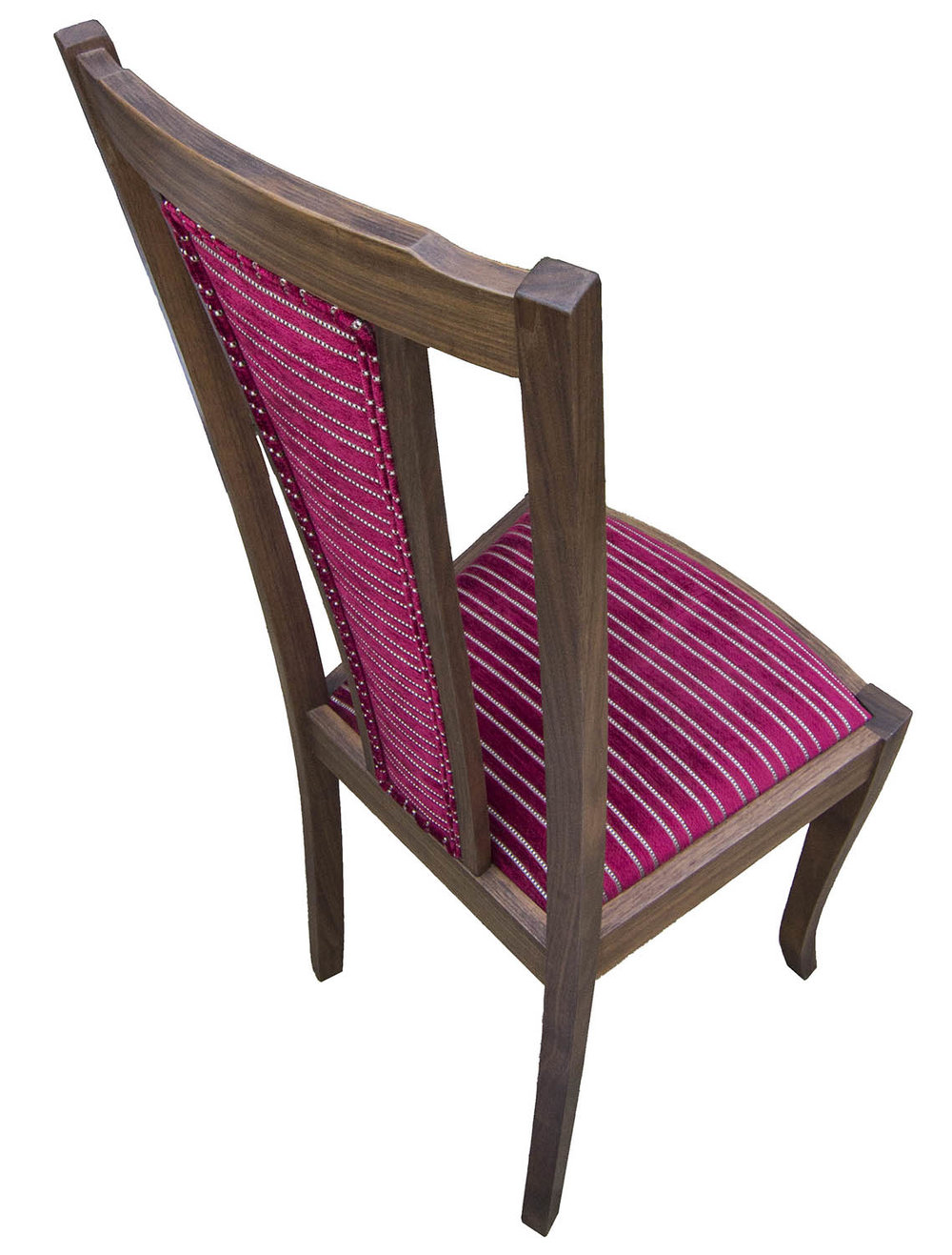 Upholstered dinnig chair in walnut