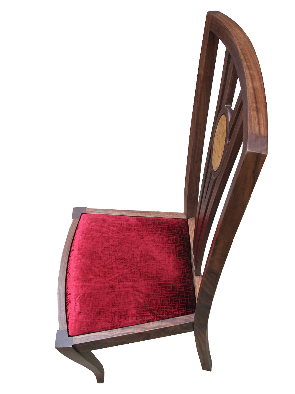 Walnut and burr oak dining chair