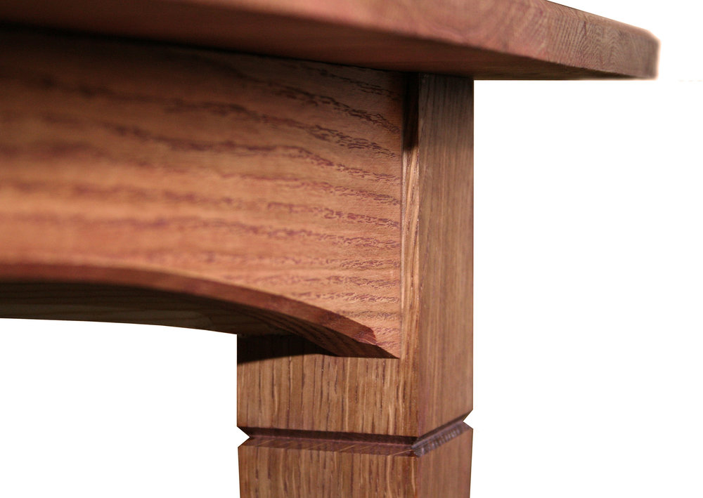 Dining Table in red oak leg detail