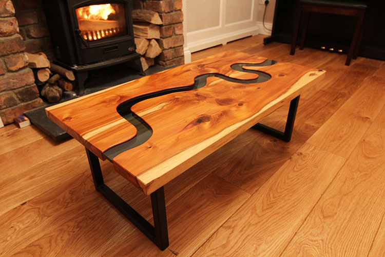 Thames Table in Yew and Glass