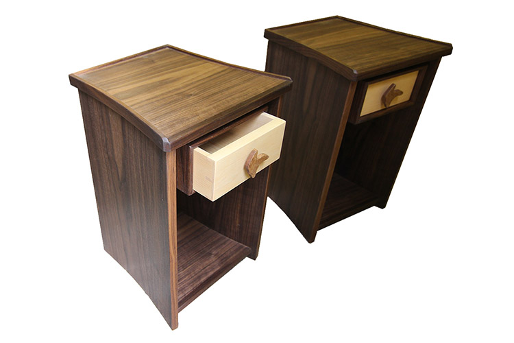 Bed Side Cabinets in Walnut and Maple