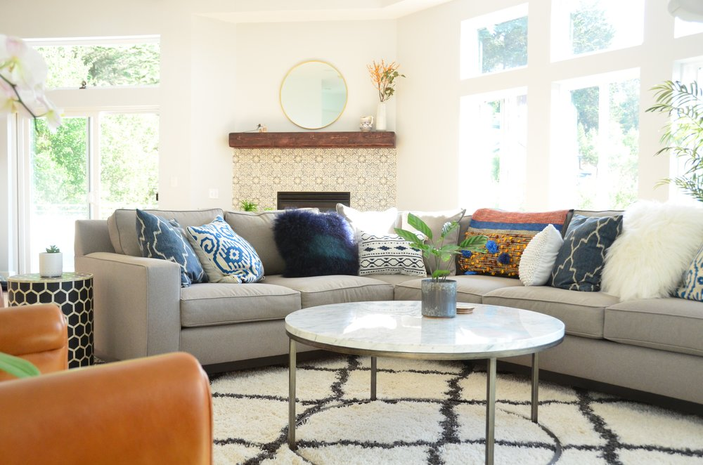 Eclectic Interior Decorating Project, Living Room & Dining Room - Oakland Hills, CA