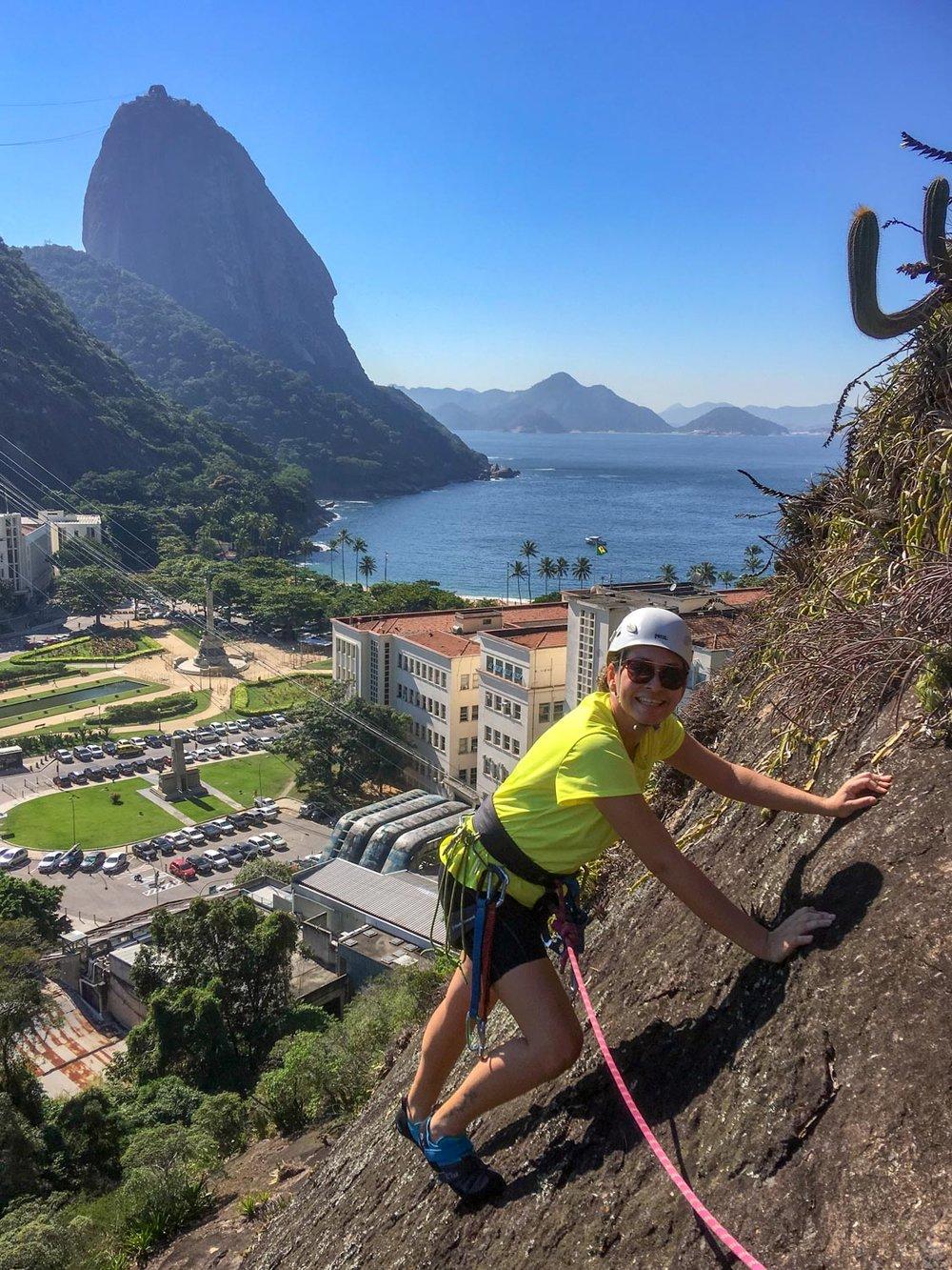 Rock climbing lesson on Morro da Babilônia, Rio de Janeiro