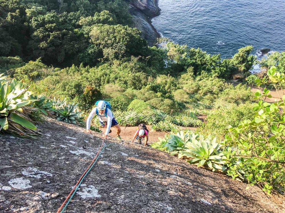 Escalada guiada no Morro da Urca, Parede dos Coloridos, Rio de Janeiro