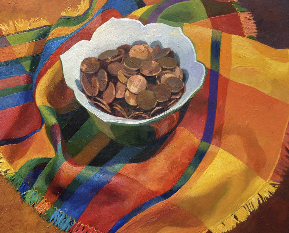 "Bowl of Pennies   Oil on Wood  8"" x 10"""