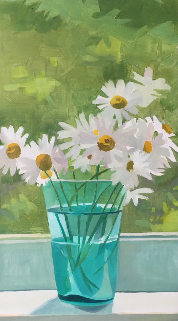 "Daisies in Blue-Green Glass   Oil on Wood  12"" x 6"""