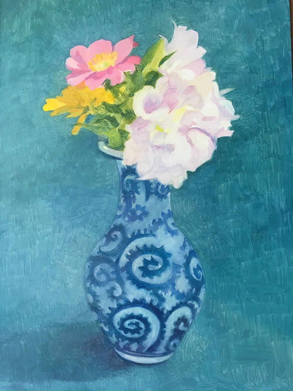 "Wildflowers in a Blue and White Vase   Oil on Wood  12"" x 8"""