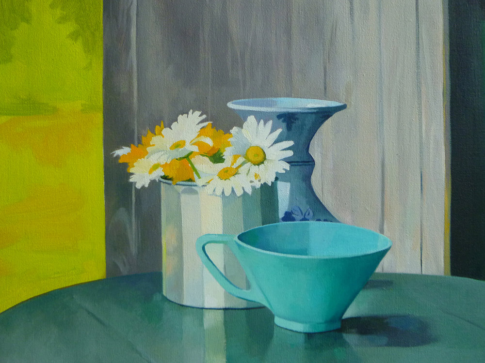 "Daisies in a Tin Cup   11"" x 14""  Oil on Linen"
