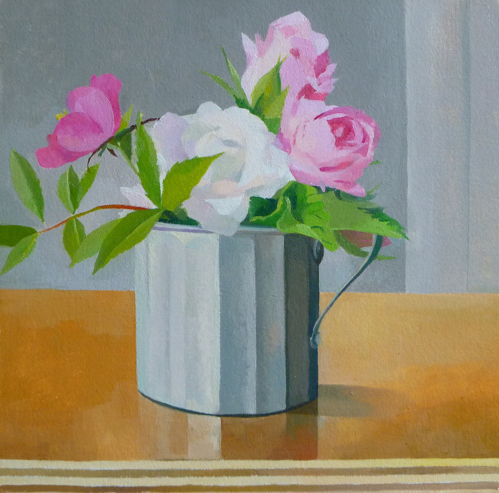 "Roses in a Tin Cup   10"" x 10""  Oil on Wood"
