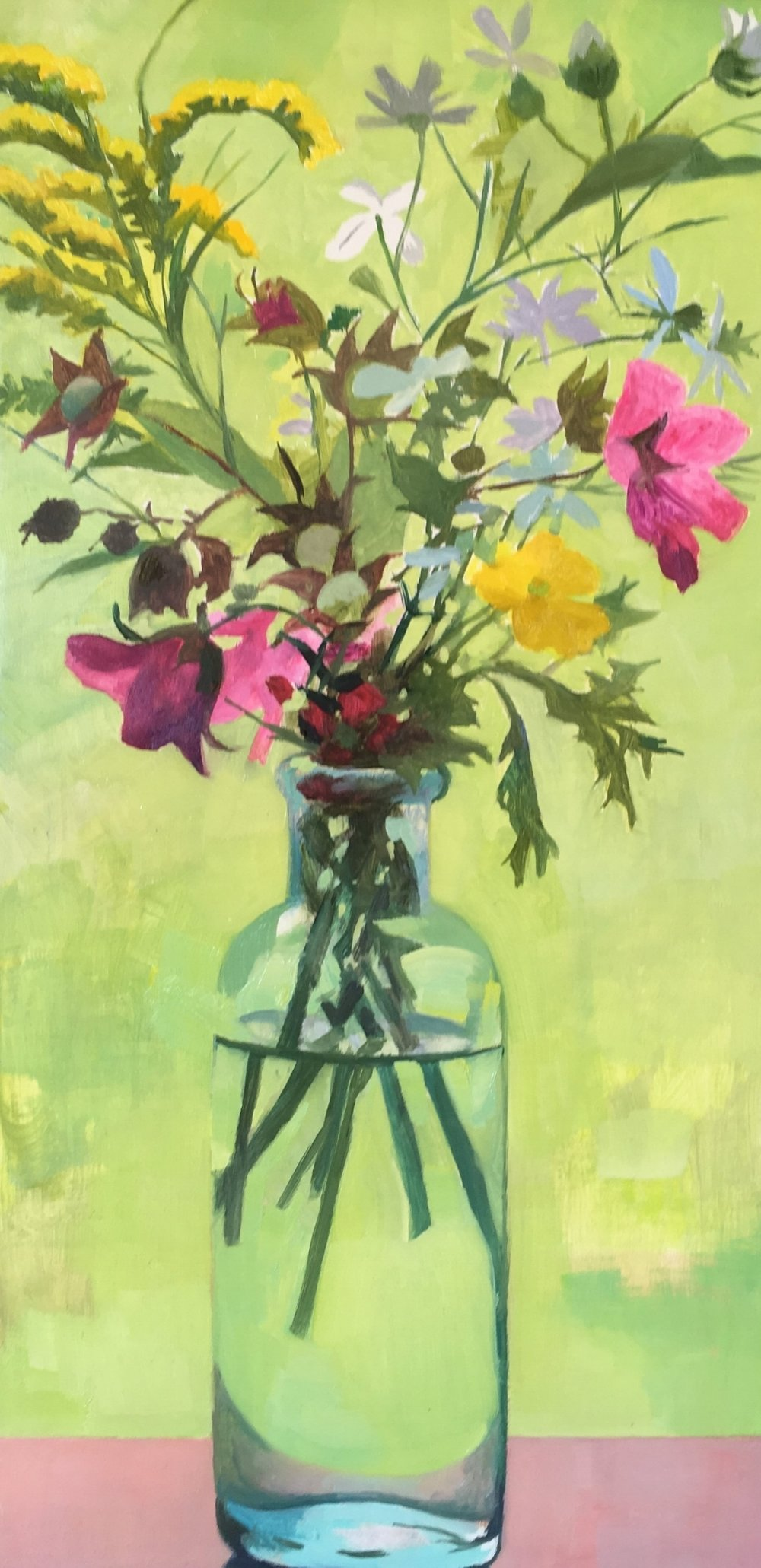 """Vermont Wildflowers   Oil on Wood  12"""" x 6"""""""