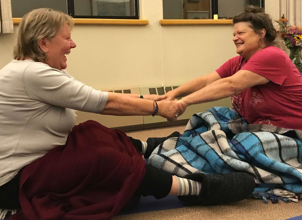 "Heidi & Elaine creating cozy bonds through Marianne's Mindful Relating Game, ""Curiosity,"" at the Waking Up in the Wild Retreat, November 2018"