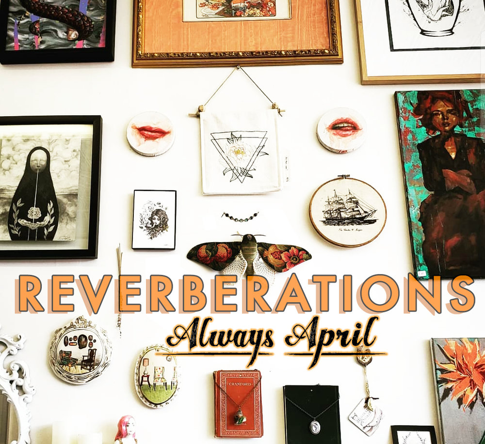 REVERBERATIONS Group Show - Visit April Alayne's beautiful art gallery and store in Hampden (Balitmore, MD) to see a variety of works including original book cover collages by Beth. April renders highly detailed and other worldly drawings and paintings, and has created a magical space to explore regional and national artists.