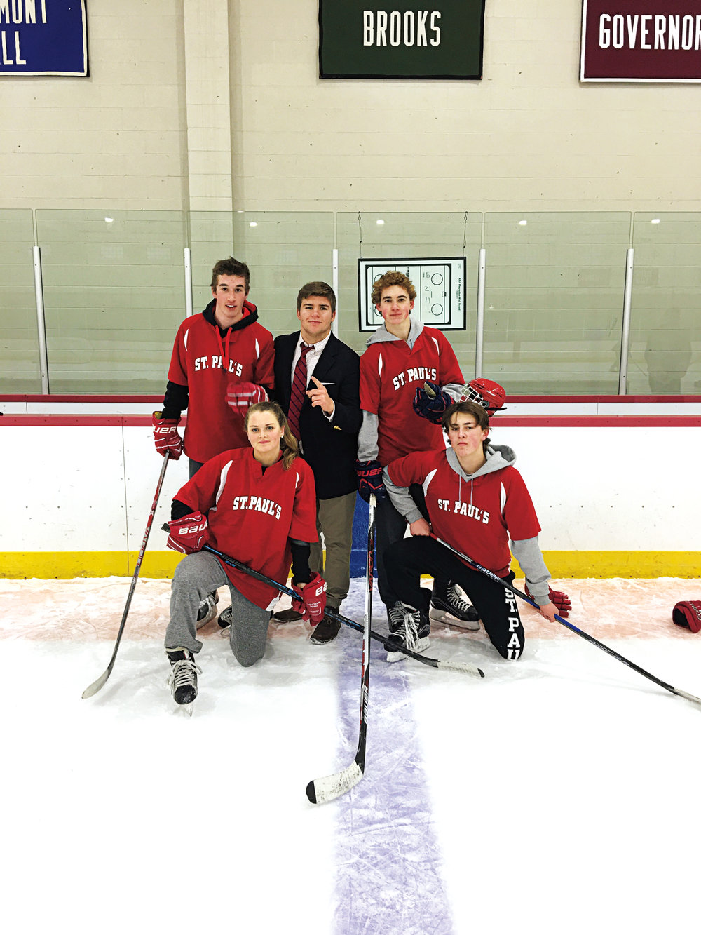 Lower School Classic winners (back, l. to r.) Jake Demers '18, Oliver Morton '18, Ben Leach '18; (kneeling, l. to r.) Gillis Frechette '18 and Sam Born '18.