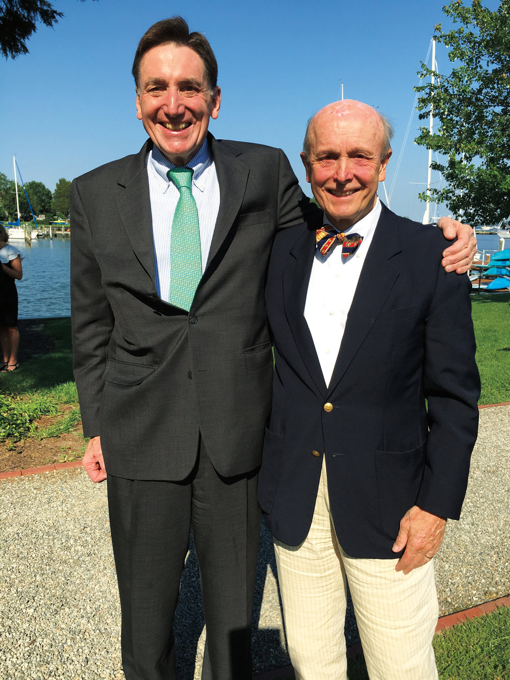 Tony Schall '62 (l.) and Lloyd Macdonald '62 at a mutual friend's wedding in Maryland, where Tony was the officiant.