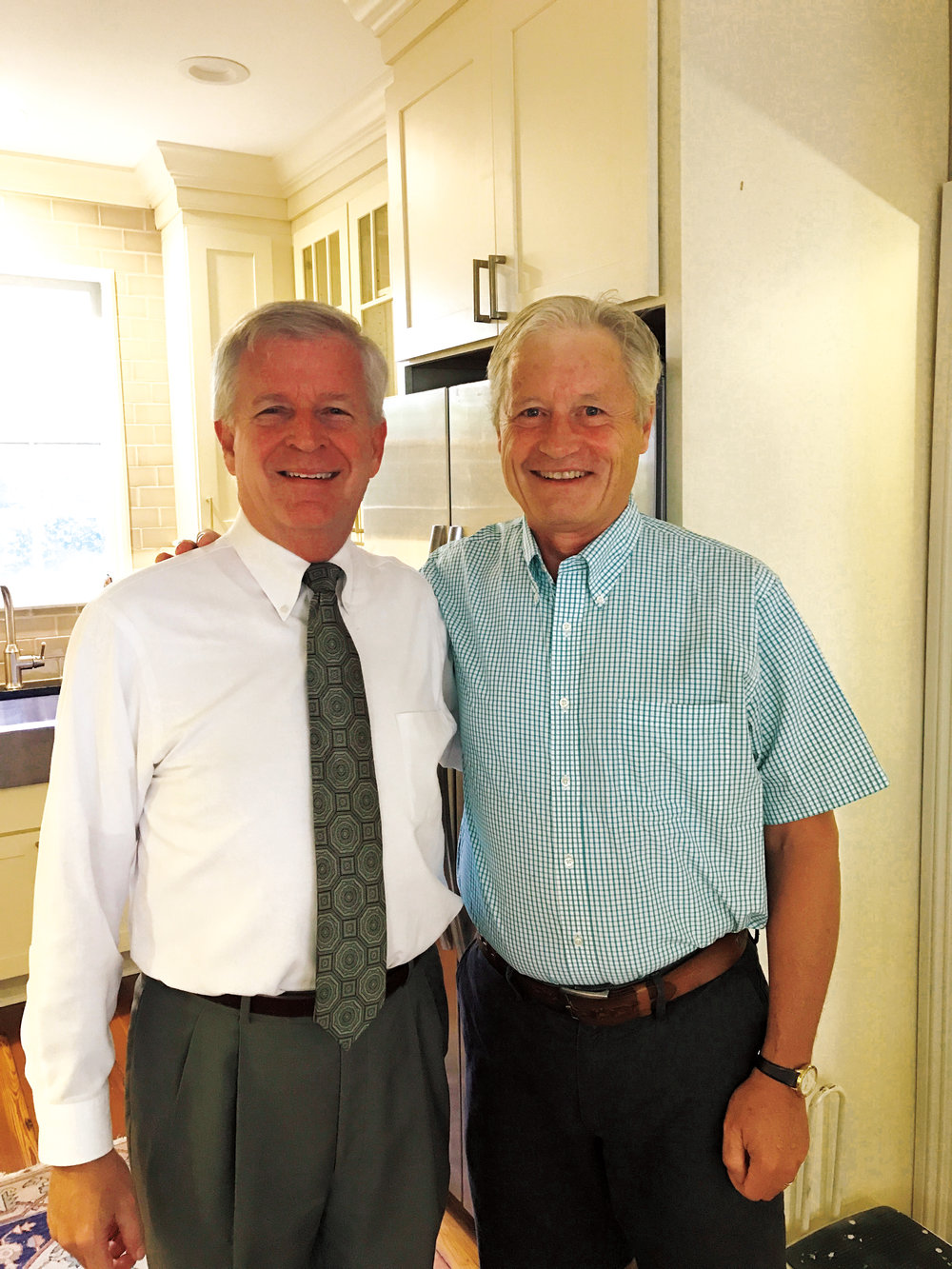 Dawes Cook '72 (l.) hosted Pres Stone '72 during the solar eclipse in August.