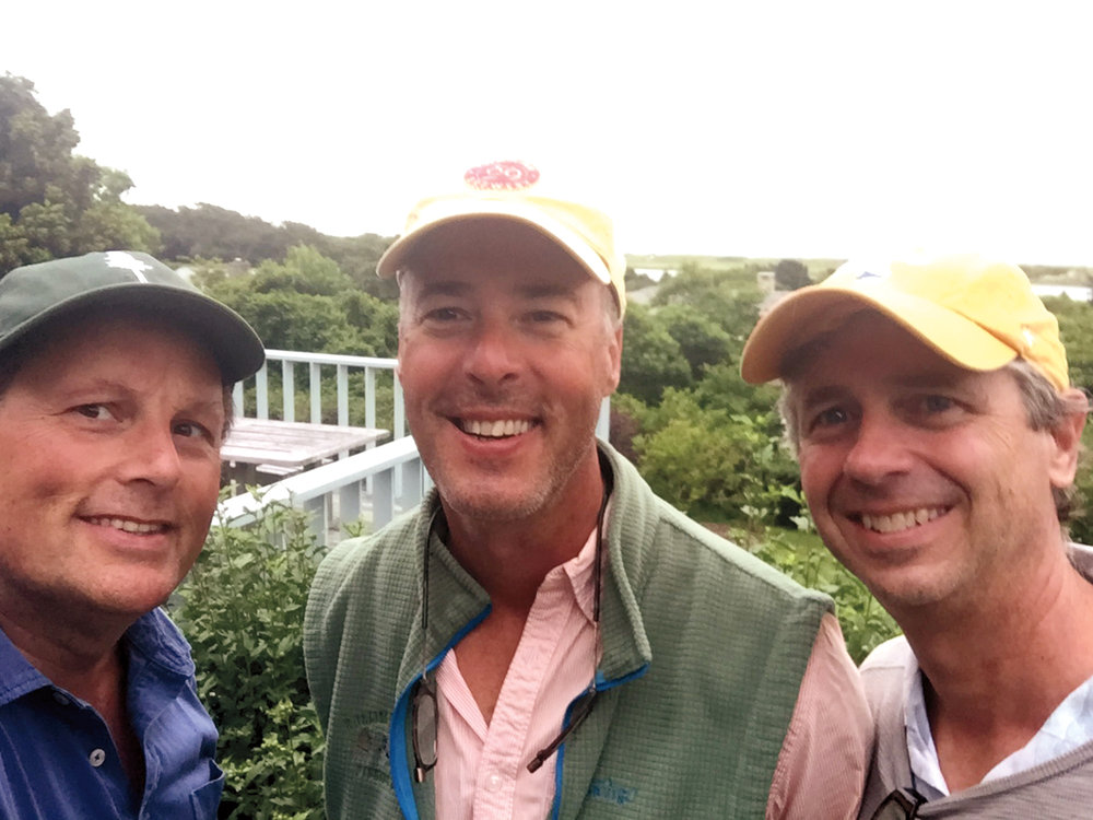 Pittsburgh boys (l. to r.) Bill Van Ingen '80, Tim Sullivan '80, and Rich Walsh '80, on Martha's Vineyard.