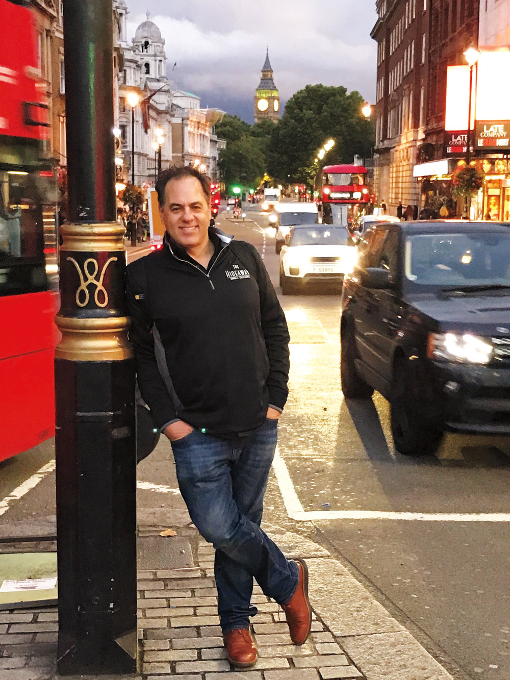 Adam Young '81 on his summer walkabout in Trafalgar Square, London.