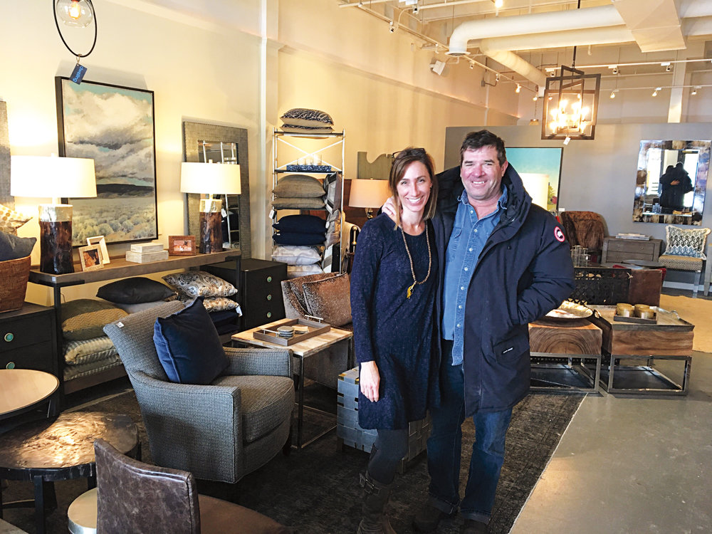 Andrew Binger '81 and his wife, Kate, at her store in Jackson Hole, Wyo.