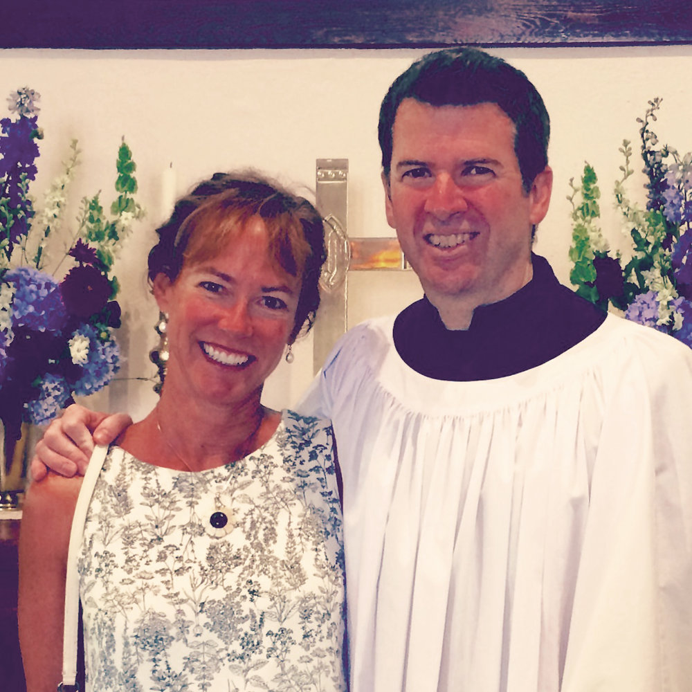 Formmates Polly Bowsell '81 and Alan Murchie '81 at the Weekapaug Chapel in Rhode Island.