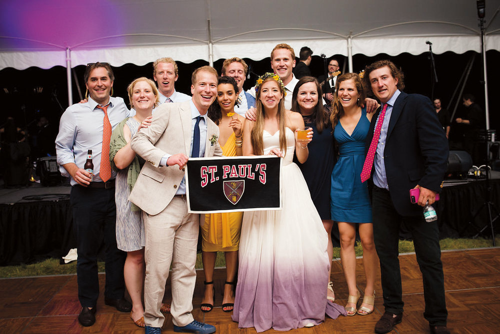 Hank Garrett '06 married his wife, Christina, this summer. Alumni at the wedding included (l. to r.): back: Roly Morris '05, John Coit '06, Molly Mitchell '06, Patrick Johnson '06, Clayton Sachs '06; front: Hannah Garrett '05, the groom and bride, Alison Randall '06, Lizzy Bates '07, and Harry Jostrom '06.