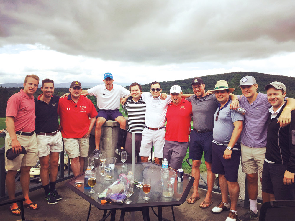 Participants in the sixth annual BroGA Golf Championship (l. to r.): Trent Blossom '08, Iffer Beisswenger '08, Captain John Cronin '08, Andrew Peabody '08, Charles Vennat '07, Fred Vennat '08, David Friedman '07, Tyler O'Brien '07, Phil Vennat, Jamie Wilson '08, and François Brisebois '07.